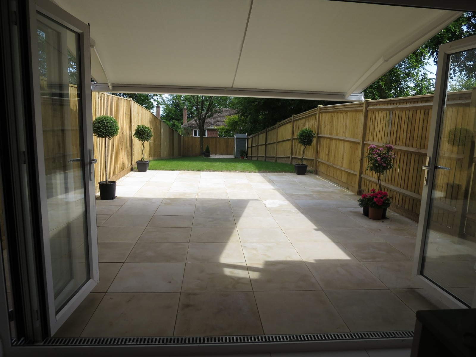 Modern Style Electric Awning Fitted in Winchester Garden