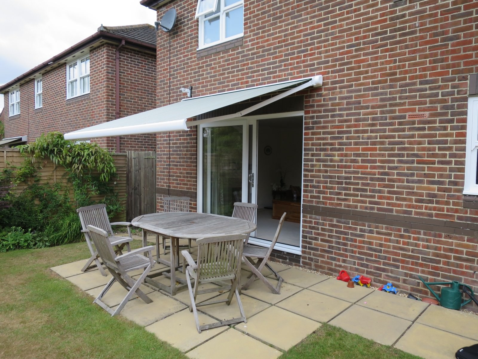 Electric patio awning fitted in Romsey, Hampshire by Shuttersouth