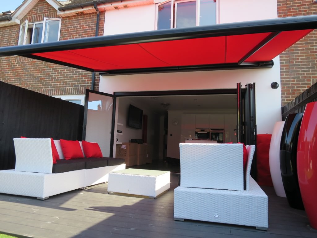 Red Awning Fitted in Gosport, Hampshire - Shuttersouth