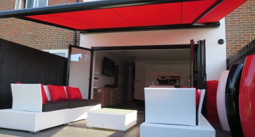 Red Garden Awning in Gosport - Shuttersouth