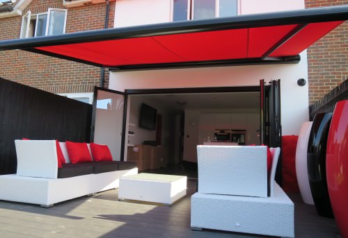 Red Garden Awning in Gosport - Shuttersouth