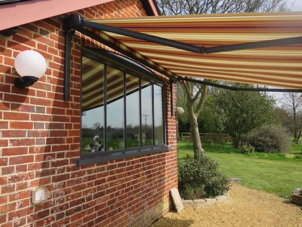 Patio Awning Fitted in Stockbridge by Awningsouth - Sideview