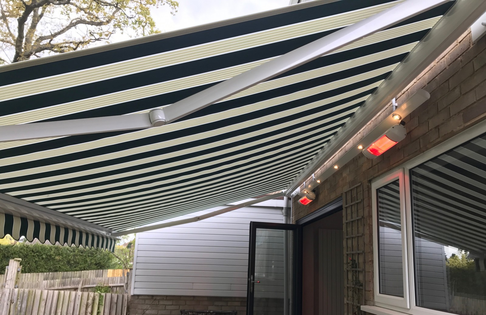 Electric Awning with Heaters and Light-track Southampton ...