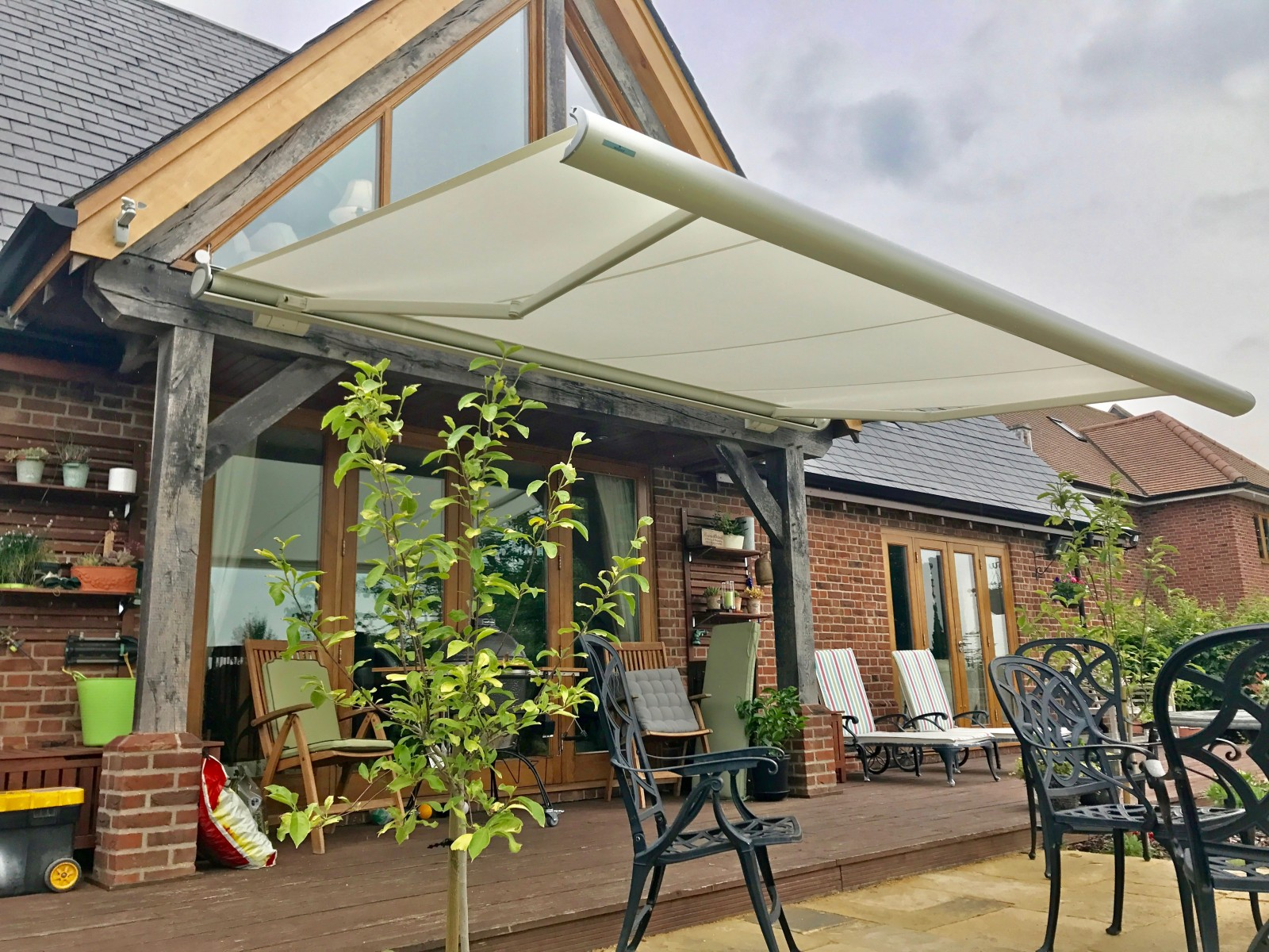 Weinor patio awning fitted in wiltshire awningsouth for Balcony awning