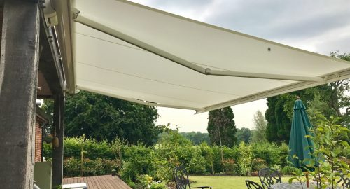 Electric Patio Awning Fitted in Wiltshire - Sideview -Awningsouth