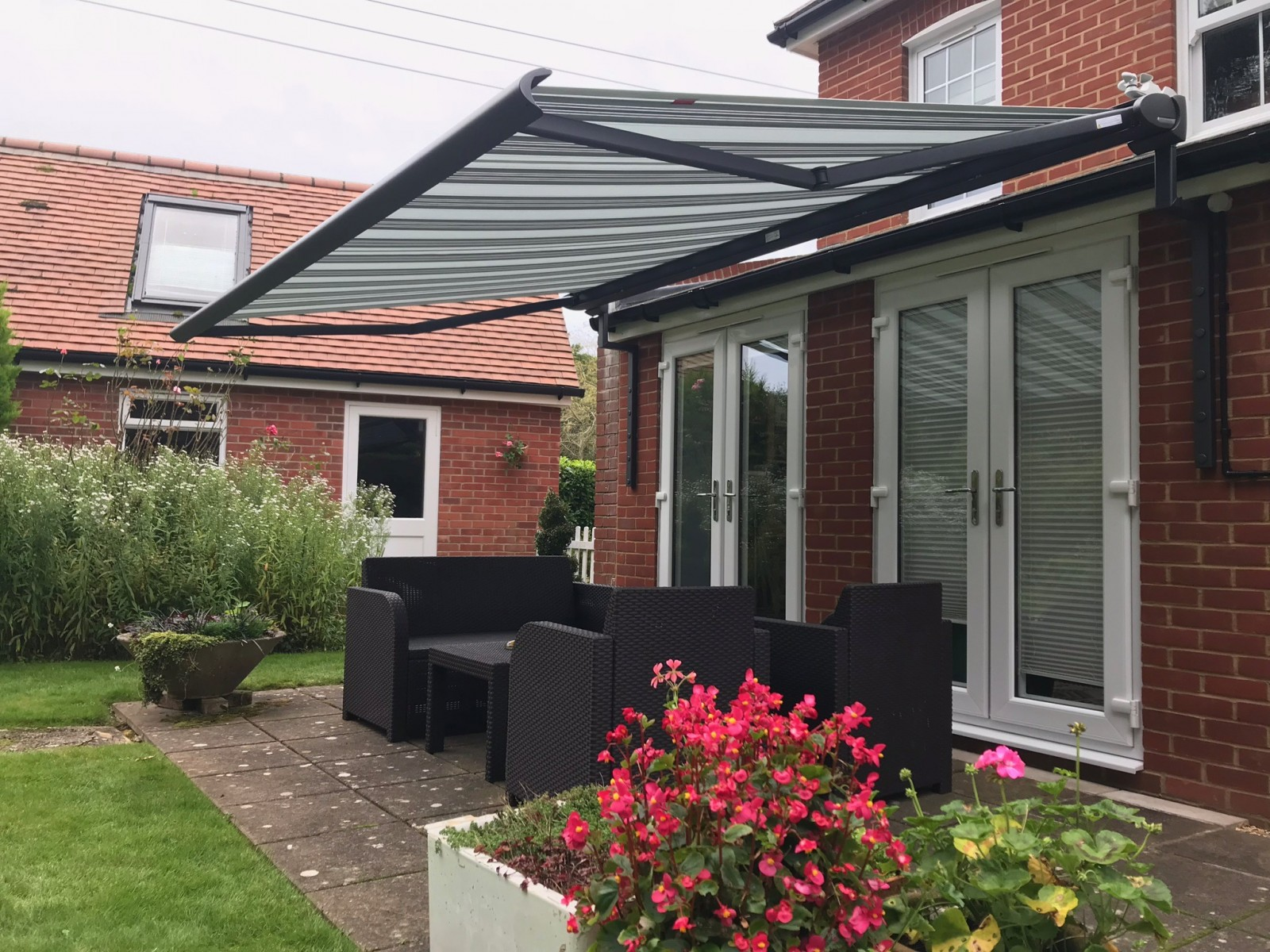 Black Weinor Cassita Awning for French Doors in Ringwood