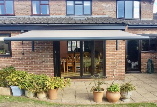 Bifold Door Awning Fitted in Romsey by Anwingsouth