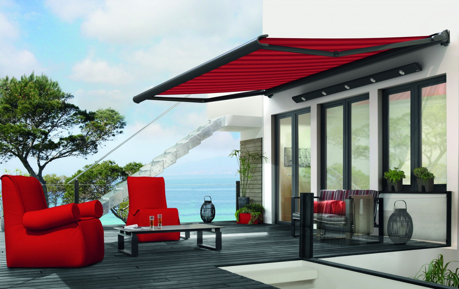 990 Markilux Awning - Red - Supplied and Fitted by Awningsouth - Hampshire, Surrey, London