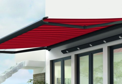 markilux 990 Awning - Red retractable Awning - Supplied and Fitted by Awningsouth - Hampshire, Surrey, London