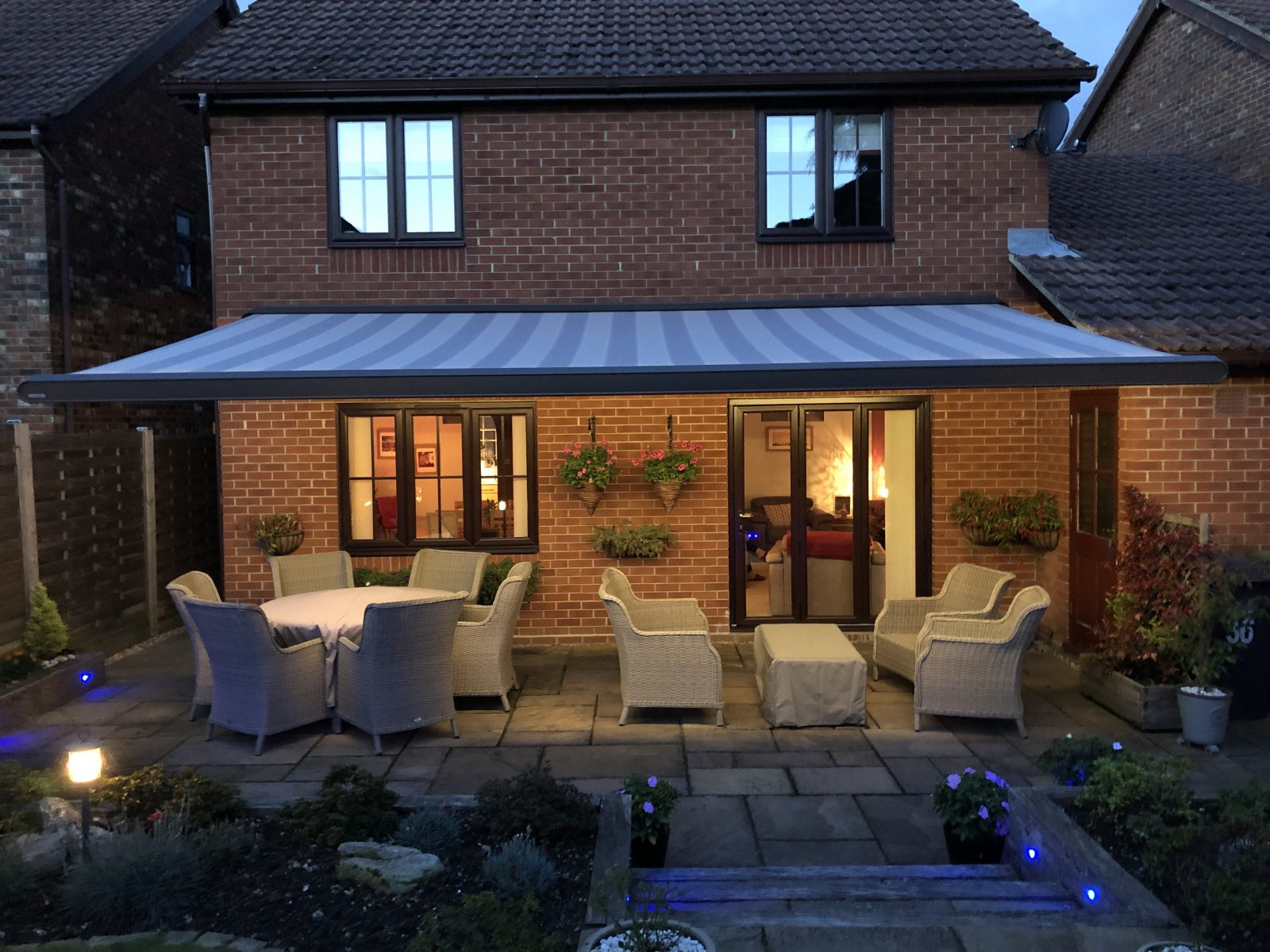 Large Electric Awning With Outdoor Lights Fitted in Southampton by Awningsouth