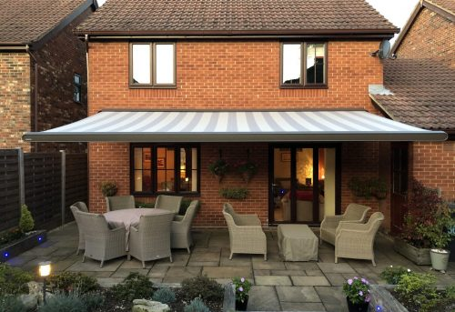 Large Striped Electric Awning Fitted in Southampton by Awningsouth