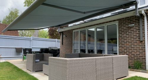 Large Weinor Awning for Bifold Doors fitted by Awningsouth in Chichester.
